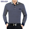 Port&Lotus Polo Shirt Men Striped Brand Clothing Thick Polos Brand Long Sleeve Turn Down Collar Cheap Polo Shirt JSL 007 2202