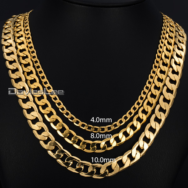 Davieslee Mens Necklace Gold Filled Curb Chain Hiphop Fashion Jewelry DLGNM50