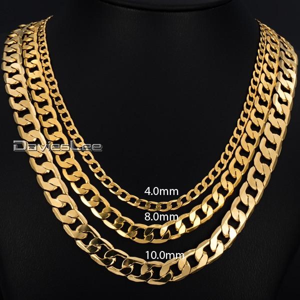 Mens κολιέ χρυσό γεμάτο Curb κουβανέζικο κρίκο χρυσό αλυσίδα κολιέ για τους άνδρες γυναίκες Davieslee χονδρικής κοσμήματα μόδας δώρο DLGNM50