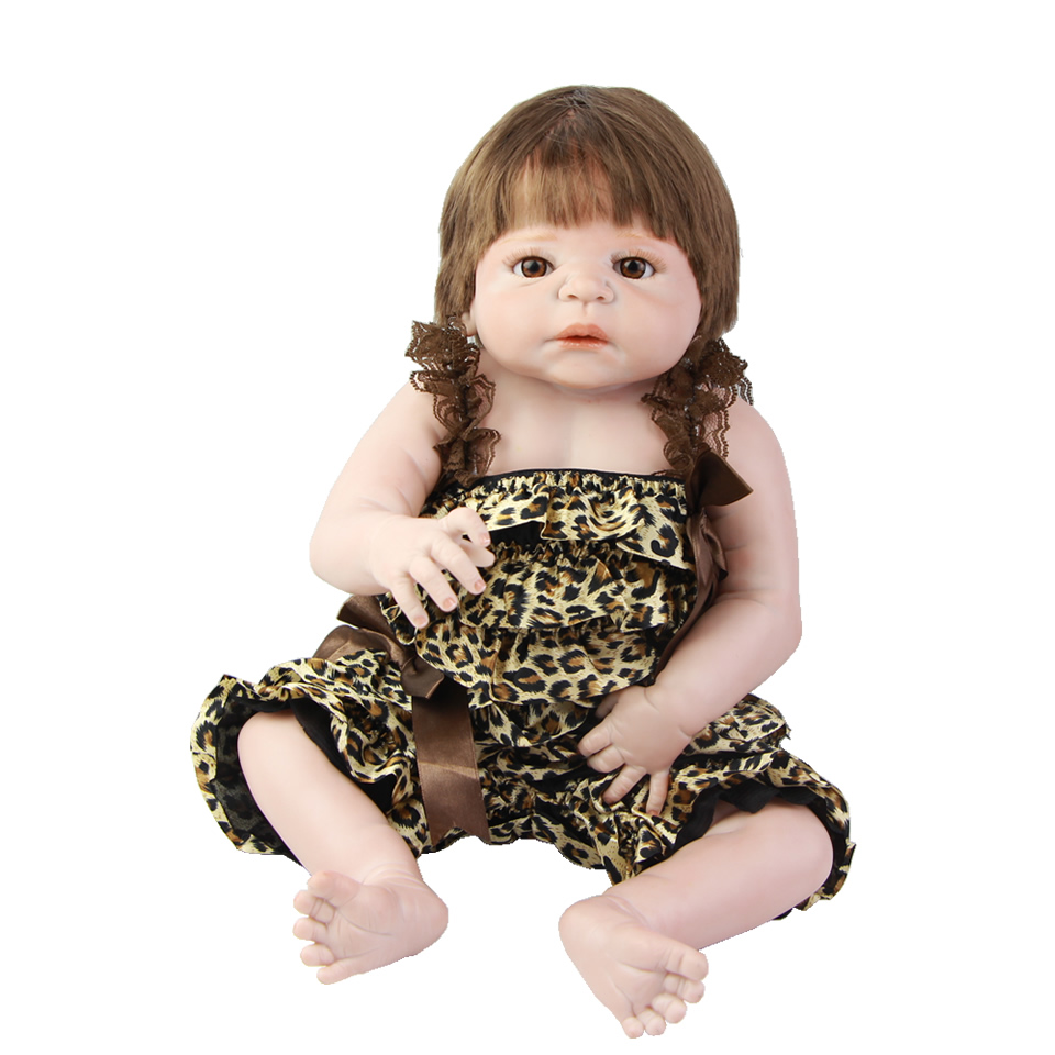 NPK Wear Summer Clothes Reborn Baby Doll Girl 23'' Lifelike Full Silicone Body Babies Doll Realista Reborn Kids Xmas Gifts christmas gifts in europe and america early education full body silicone doll reborn babies brinquedo lifelike rb16 11h10