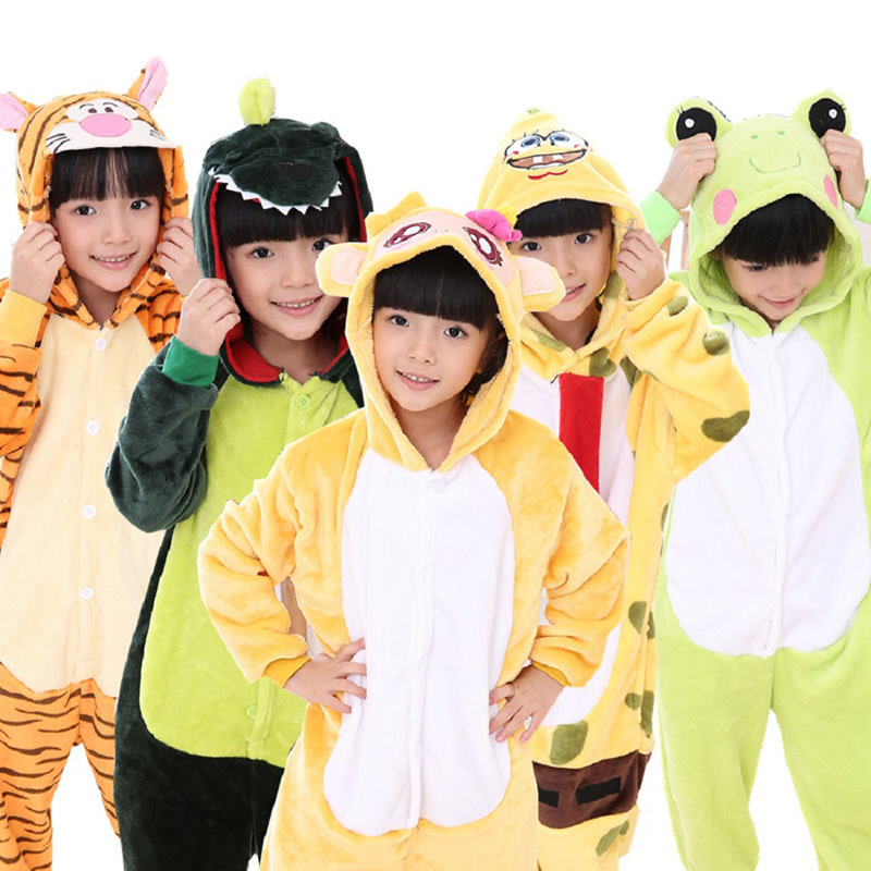 Winter Girls Blanket Sleepers For Boys 2018 Hot Sale Cosplay Cartoon Pajamas Onesies Pajama Hooded Animal Teen Sleepwear