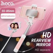 HOCO Universal Mini Selfiestick Wired Monopod de mano Extensible Palo Autofoto Con Espejo Portátil Para el iphone Samsung Xiaomi