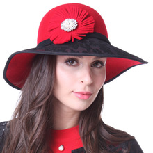 Free Shipping Women Hats Red Hats Winter Hats 100% Wool  Winter Beanies Hats Red black Lace Brim