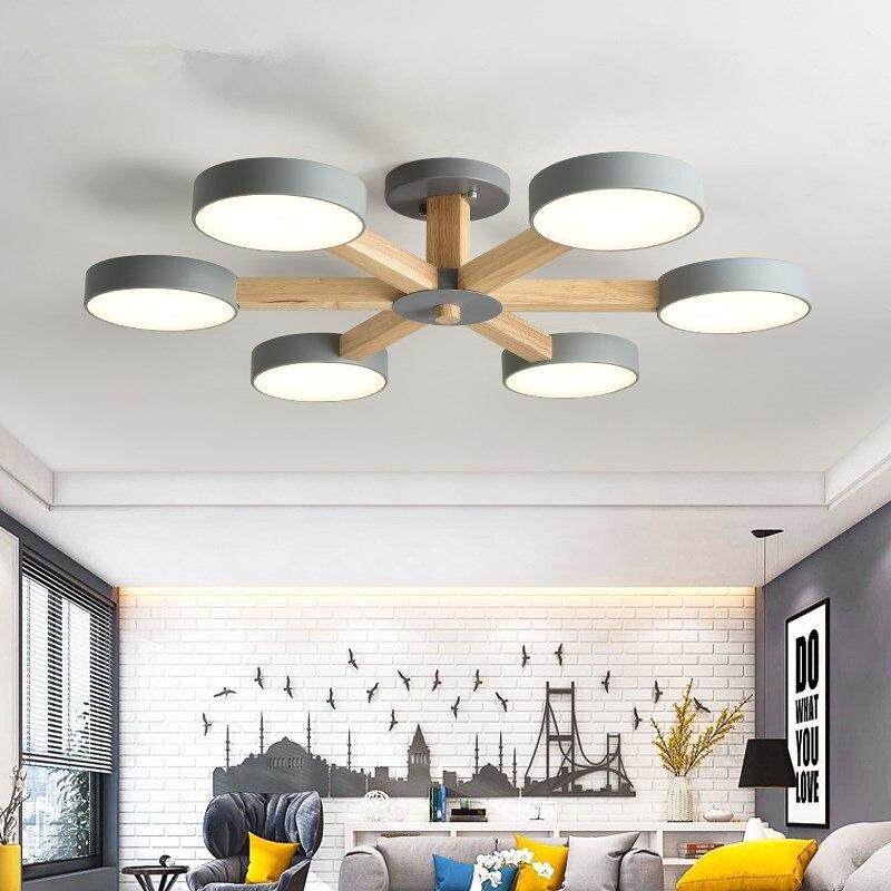 220 V Led Kronleuchter Für Wohnzimmer Moderne Weiß Lustre Holz Schlafzimmer Beleuchtung Einfache Oberfläche Montiert Kronleuchter Zu Verkaufen