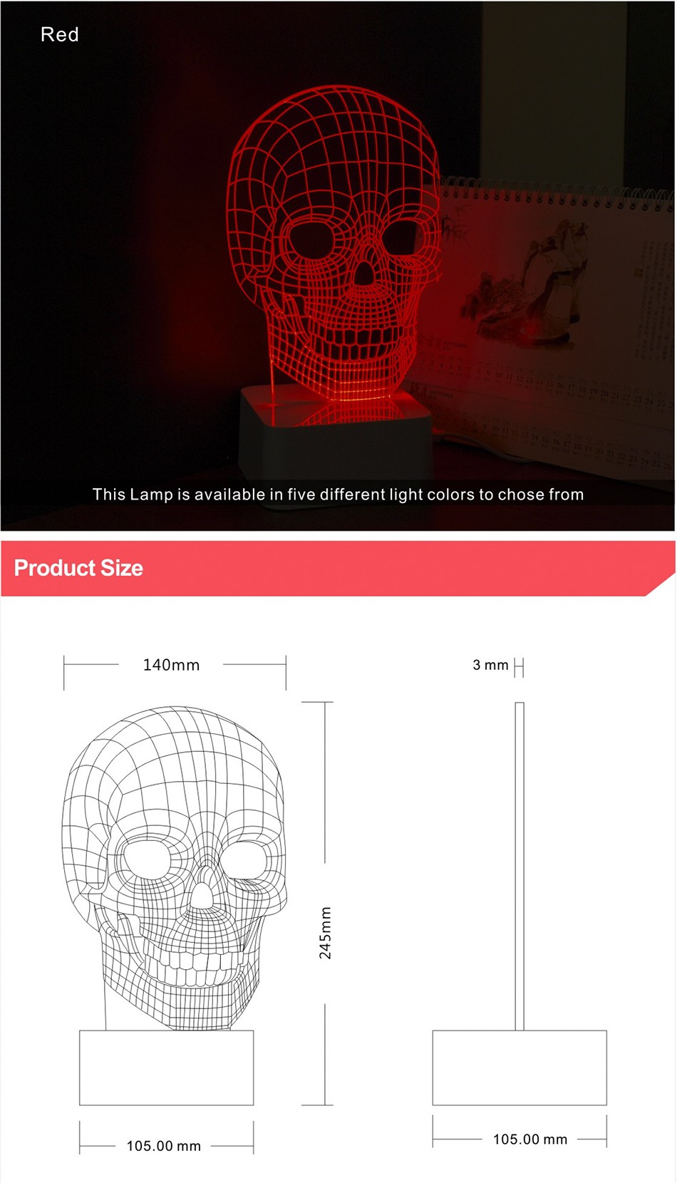 3d White Line Shadeless Terror Skull Dimmable 3d Led Light Bed Room Lamp  (5)