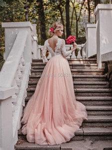 Image 2 - Sexy V hals Prinses Trouwjurken Lace Lange Mouwen Formele Bruidsjurken Met Applique Blush Roze Tulle Bruid Jurk 2020 Goedkope