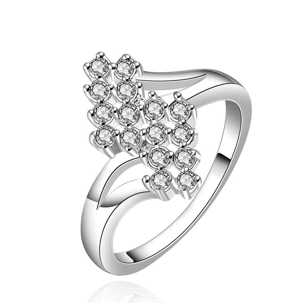 NEW Arrivel 2016 USA EURO Style Fashion Silver plated leaf trss white Ring  Wholesale Jewelry SMTR527-in Engagement Rings from Jewelry & Accessories on