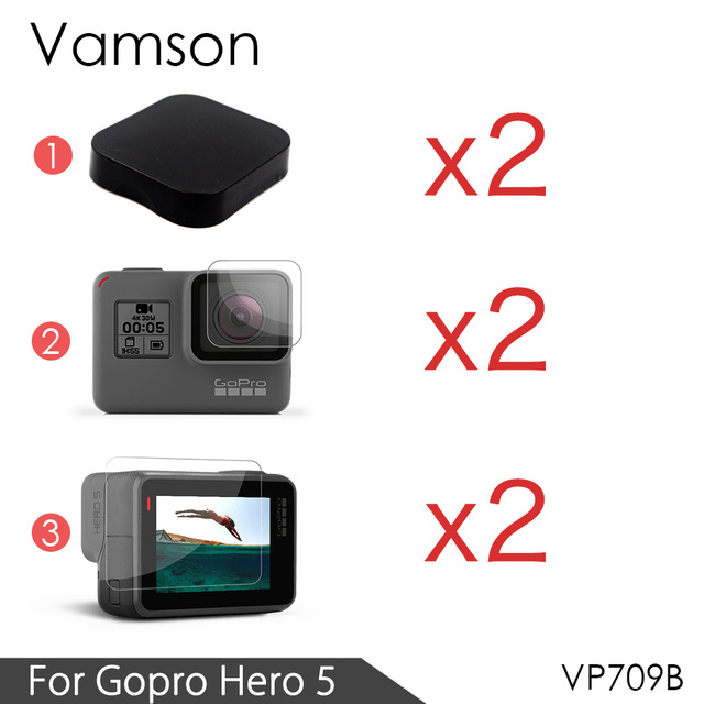 Vamson For GoPro Hero6 LCD Display Screen Protector For Go pro Hero 5 Black Camera Lens Accessories Protective Film Case