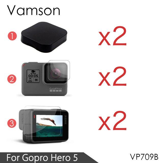 Vamson Pour GoPro Hero6 LCD Affichage Écran Protecteur Pour Go pro Hero 5 Noir Camera Lens Accessoires De Protection Film Cas
