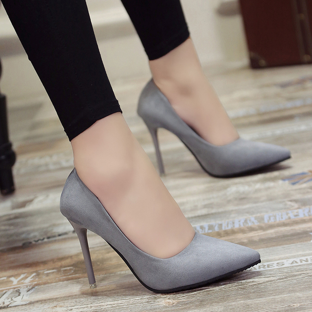 Cresfimix szpilki damskie femmes classique haute qualité gris bureau talons dames mode noir confortable chaussures à talons hauts b2912e