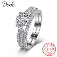 DODO Female Male Luxury 925 Sterling Silver Jewelry CZ Ring Sets Engagement Ring Anel Aros Schmuck