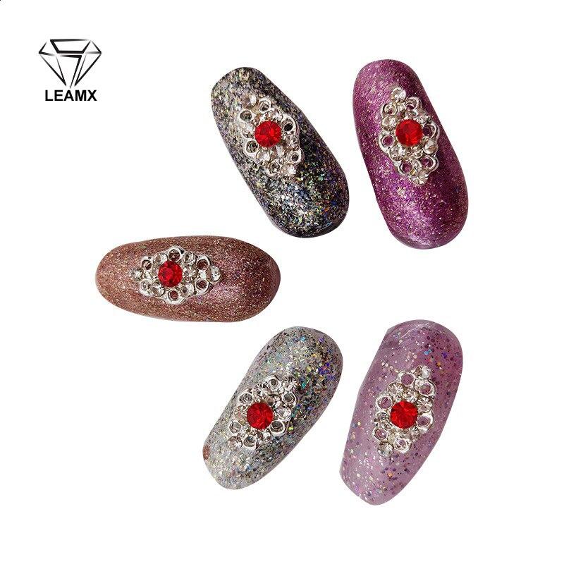 10 PCS Red Glitter 3D Nail Art Decorations Rhinestone