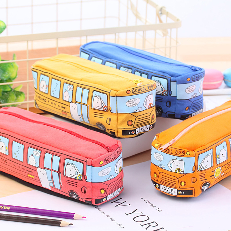 все цены на Large Capacity Cartoon School Bus Pencil Bag School Kids Bus Pencil Case 8pcs/lot онлайн