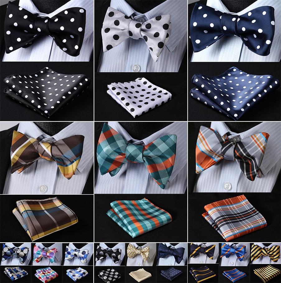 Polka Dot 100%Silk Jacquard Woven Men Butterfly Self Bow Tie BowTie Pocket Square Handkerchief Hanky Suit Set #RD2