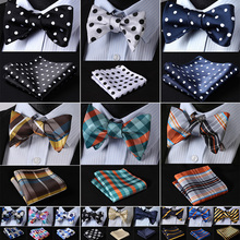 Polka Dot 100%Silk Jacquard Woven Men Butterfly Self Bow Tie BowTie Pocket Squar