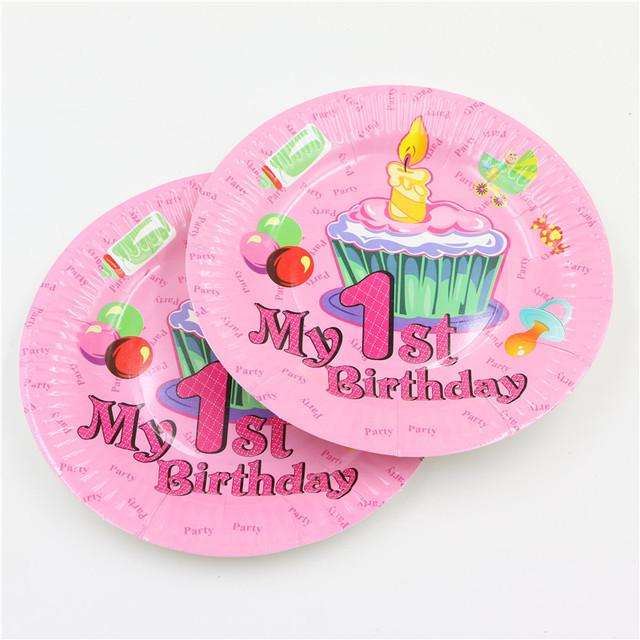 Pink Paper Plates 10 pcs/lot