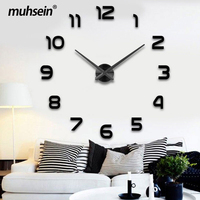 2019 New Metall Moderne 3D DIY Wall Clock Acrylic EVA Metal Mirror home decoration Super Big 130cm x130 cm Factory Freeshipping