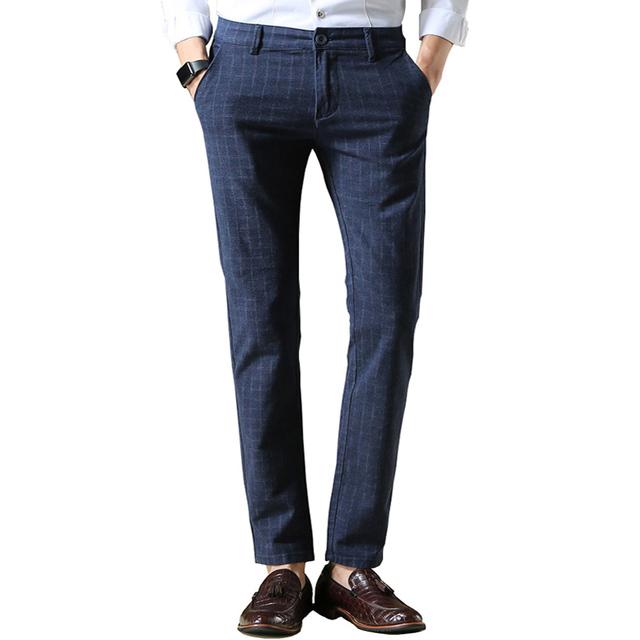 2016 Calças dos homens Novos da Marca de Moda Xadrez Vestido de Algodão Em Linha Reta Calça Casual Homens Slim Fit Terno Calças Compridas azul/Preto