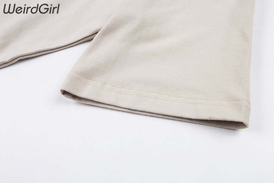 Weirdgirl Women Baby Angel Printing Casual Fashion T-shirts letter Short Sleeve O-Neck Khaki Loose Female Tees Summer New 19 10