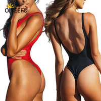 Oiyeefo 3 Styles Sexy Thong High Cut Swimsuit One Piece Bathing Suits Women Swimwear Female Beach