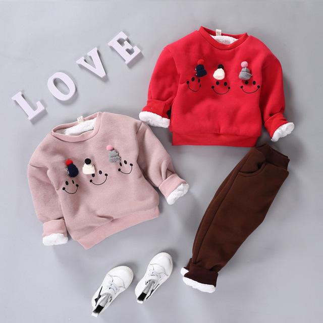 Sistemas de los niños Girls & Boys Del Bebé Ropa Gruesa Caliente Cute Niños Traje de Invierno Abrigo de Manga Larga + Pantalones de los cabritos ropa fijada