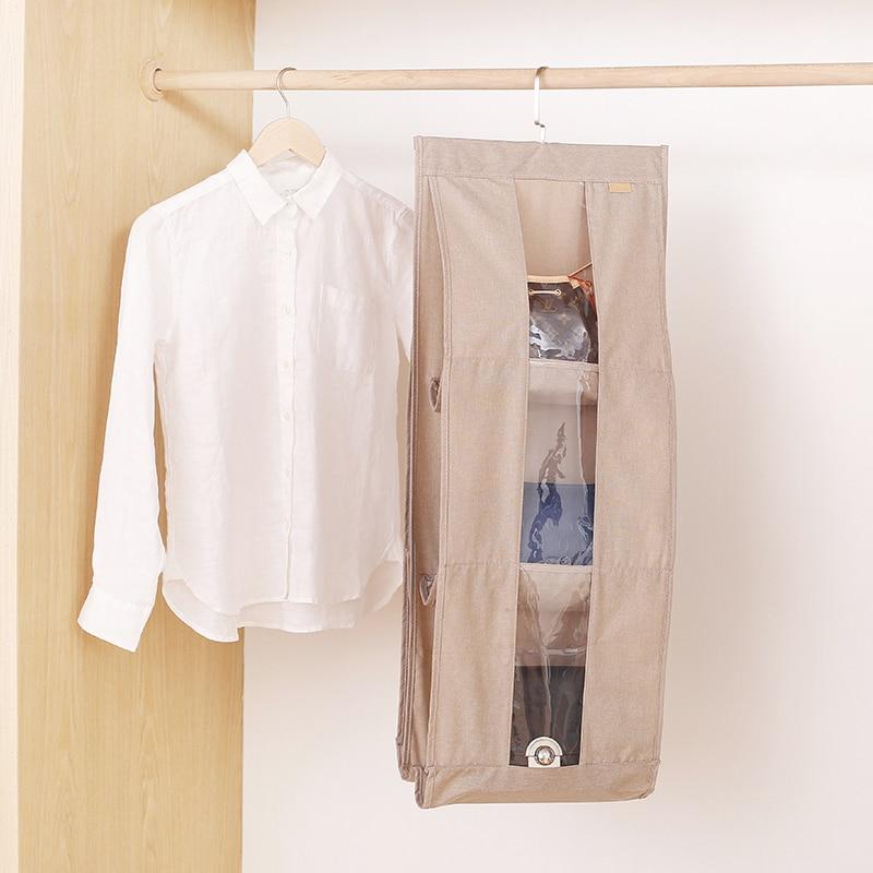 Doek Handtas Dubbelzijdig Opbergtas Garderobe Opknoping Handtas Uitzoeken Opslag Rack Multi-layer Stofdicht Opknoping Zakken Eenvoudige