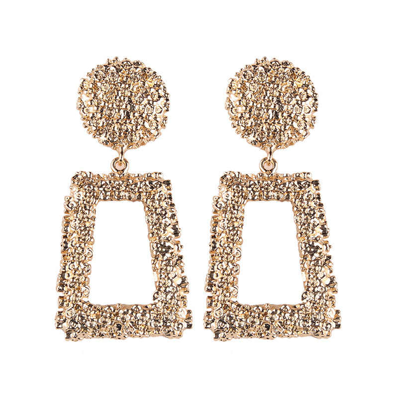 Pendientes grandes exagerados mate Stud Earrings para mujeres Metal Earing Gold Silver Color negro amarillo rojo Earings Creative Jewelry