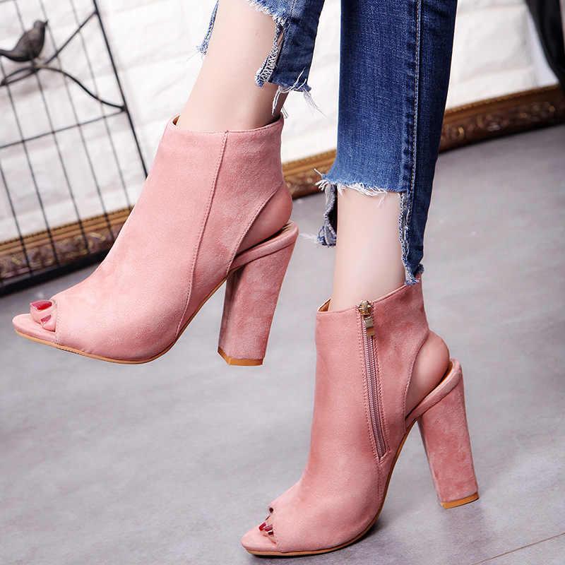 Siyah yarım çizmeler Faux Süet Deri Rahat Açık Peep Toe Yüksek Topuklu Fermuar Moda kare kauçuk siyah ayakkabı Için Kadınlar Artı Si
