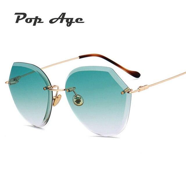 0b112674f86058 Pop Âge Nouveau Sans Monture Océan Clair Vert Rose lunettes de Soleil Femmes  Haute qualité D
