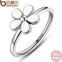 Original Flower 925 Sterling Silver DAISY SILVER RING WITH WHITE ENAMEL Compatible With Pandora Authentic Jewelry