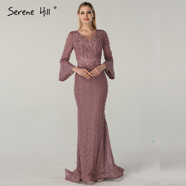 0b757af5821 Muslimischen Rosa Luxury Long Sleeves Abendkleider Perlen Kristall Spitze Abendkleider  2019 Dubai Robe De Soiree Ruhigen Hill BLA60813