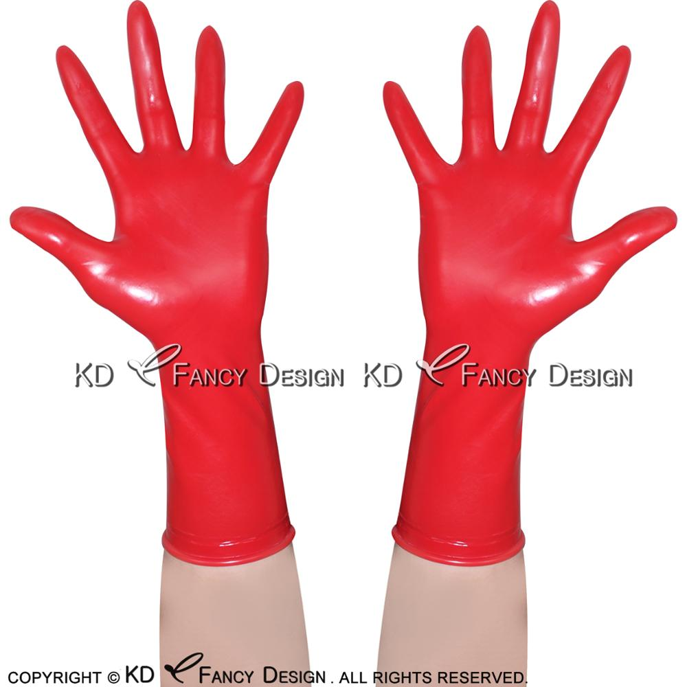 Red Sexy Short Latex Gloves With Roll Hem Rubber Mittens Rubber Gloves ST-0013