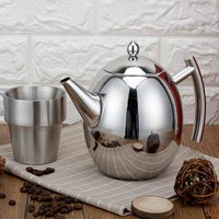 1500ml Thickened stainless steel teapot with filter screen teapot hotel restaurant household Induction Cooker flat tea pot