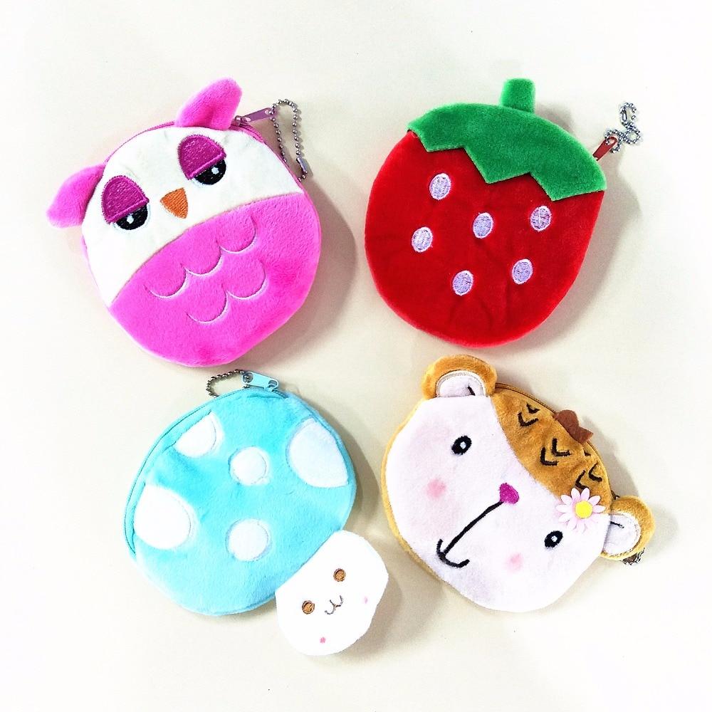 M142 Cartoon Cute Owl Mushroom Strawberry Plush Coin Purse Flat Small Bag Cloth Key Bag Girl Women Student Gift Wholesale