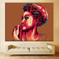 הדפסת גודל גדול אישה אפריקאית ציור שמן דיוקן אמנות קיר תפאורה ציור קיר ציור ללא מסגרת תמונה לסלון