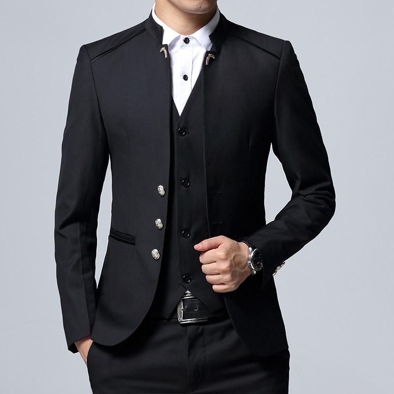 2019 mannen Pak 3 Delige Set Szie S 4XL Bruiloft Slim fit Mannen Pak Jas Broek + Vest Kan afzonderlijk worden verkocht