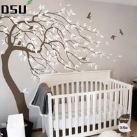 Huge White Tree Wall Decal Sticker Wall Decals Nursery Tree Wall Stickers For Kids Rooms Wall Tattoo Gift Wallpaper