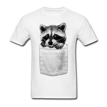 Lovely Pocket Racoon Tees Shirt Men Boy Geek Custom Short Sleeve Valentine's Plus Size Men's Tshirt