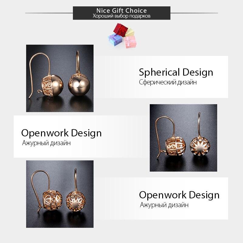 b5667f4c9 לחץ להגדלה. Davieslee Womens Stud Earrings 585 Rose Gold Filled Round Ball  Stud Earring for Women Fashion Jewelry Snap ...