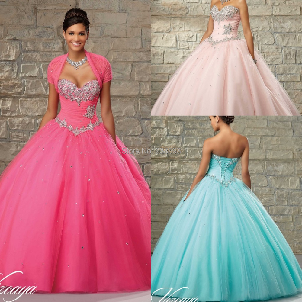 Ball Gown Beaded Sweetheart Quinceanera Dresses Pink with Bolero ...