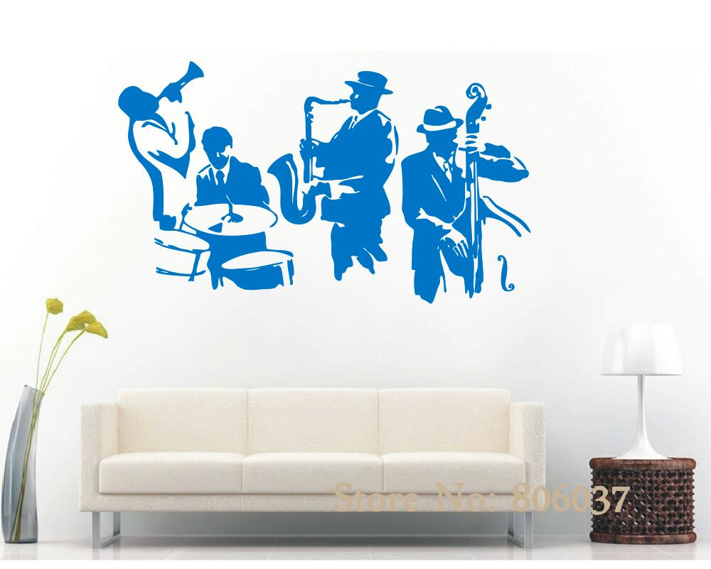 Wall decal jazz saxophone instrument tool band musical player sticker art vinyl drums bass wall decal vinyl mural adesivo wa 24 in wall stickers from home