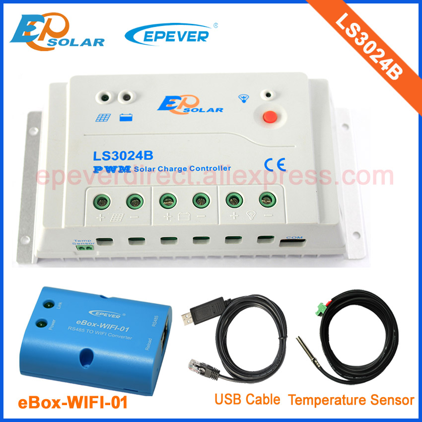 wifi APP Android system connect EPEVER EPSolar Charger Controller PWM LS3024B with USB cable and temperature sensor 30A solar charger controller manufactures epever epsolar ls3024b 30a 30amps wifi ebox phone android system app application