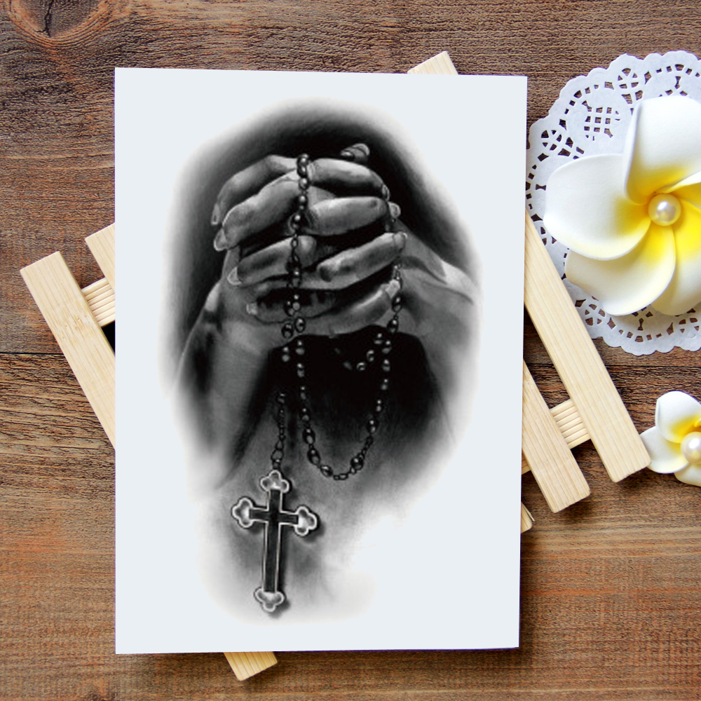 Waterproof Temporary Tattoo Sticker Prayer Tattoo Water Transfer Flash Tattoo Fake Tattoo For Women Men Kids #813