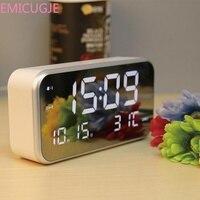 Digital Analog Digital Clocks LED Digital Multi function Alarm Clock Mirror Clock Temperature Sleepy LUMINOVA Home Decor