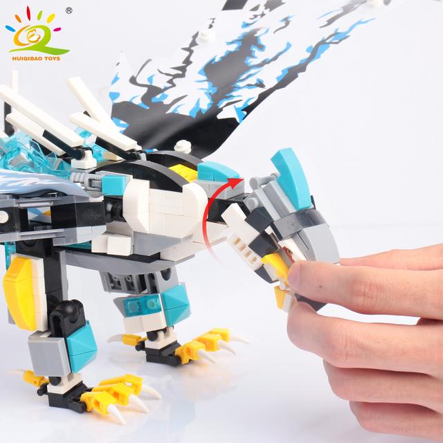 HUIQIBAO 504PCS Eagle model Building Blocks Movie Ninja kai jay Zane Figures Bricks Educational Toys For Children