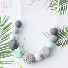 Bite Bites 1pc Baby Teething Necklace Food Grade Silicone Beads Long Chain Goods Bead Nurse Gift For Teether