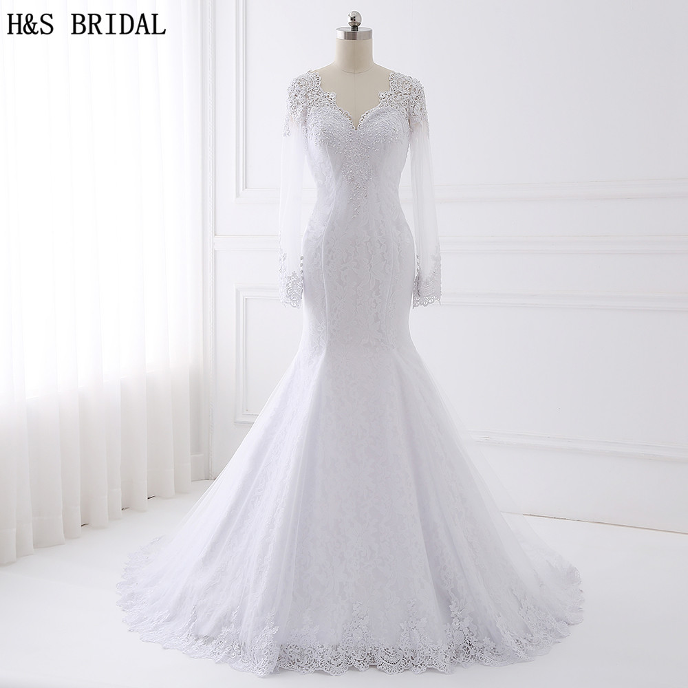 Buy h s bridal long sleeve lace wedding for Long sleeve beaded wedding dress