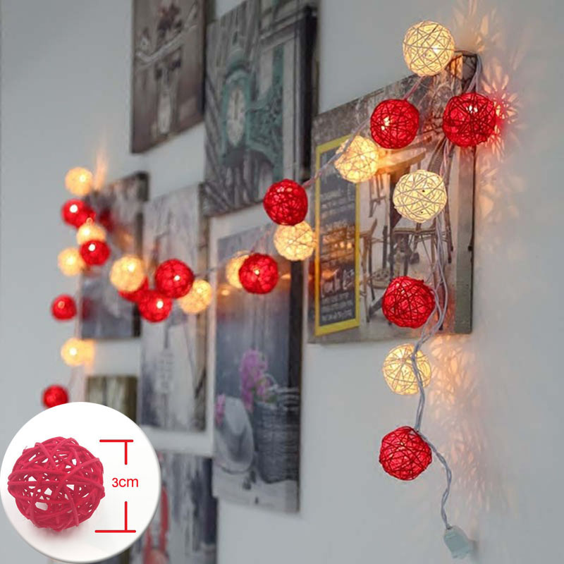 LED String Holiday Decoration Lights 20 Red White Rattan Ball Lights AC Plug Wedding Christmas Lights Battery Garlands Gerlyanda direct heating n14p gv2 b a1 n13m ge b a2 n14m gl b a2 n14m ge b a2 n13m ge1 b a1 stencil