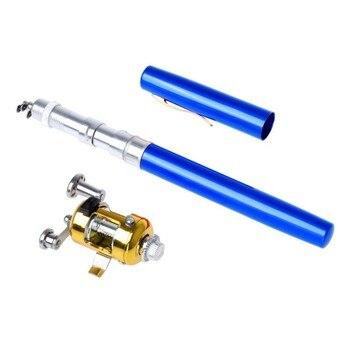 Spinning przenośny Mini podajnik wędka kieszonkowy teleskopowy Mini wędka ze stopu aluminium ze stopu aluminium w kształcie długopisu kołowrotek wędka