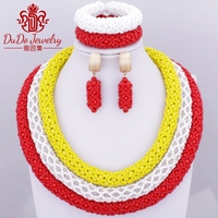 Latest Free Shipping Ethnic African Nigerian Beads Three Layers Copper Earrings Jewelry Set Yellow White Rose For Women 2018